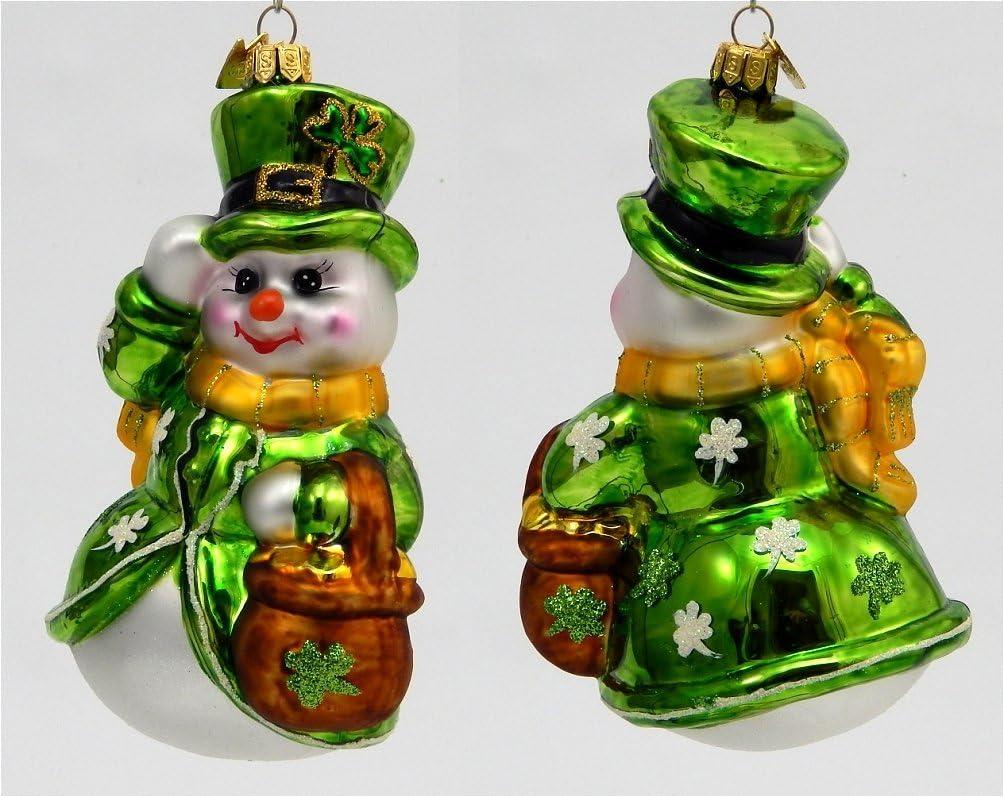 XL EXCLUSIVE SNOWMAN /& KIDS EUROPEAN BLOWN GLASS CHRISTMAS ORNAMENT