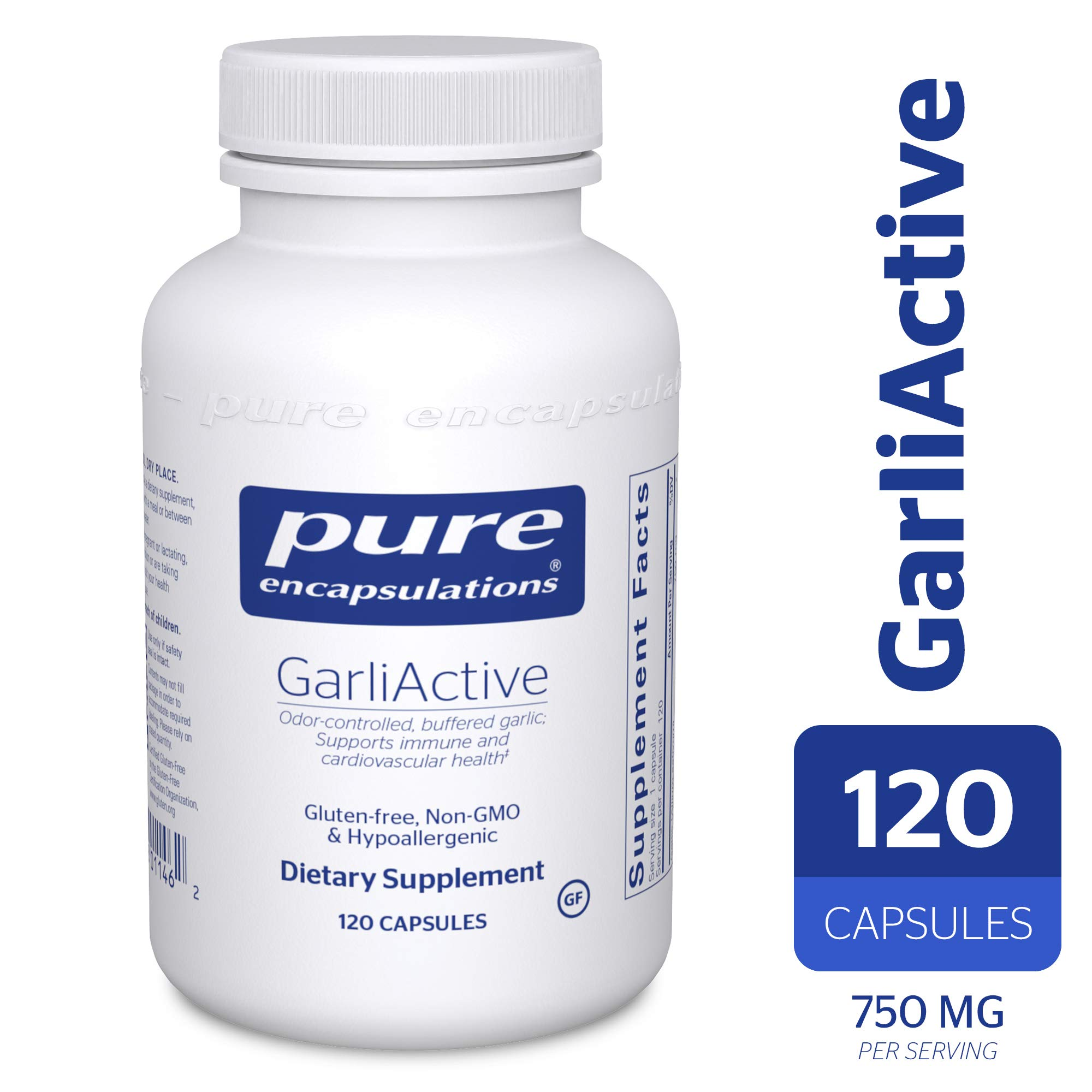 Pure Encapsulations - GarliActive - High-Allicin, Odor-Controlled, Buffered Garlic Supplement - 120 Capsules