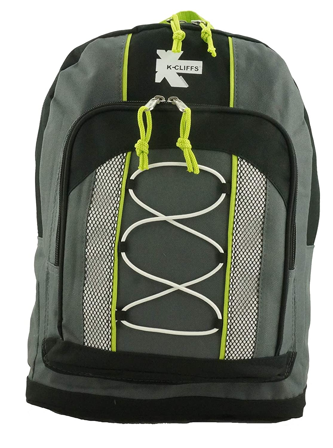 """Teens Daypack Bungee Water Resistant for Travel School and College Unisex Padded Adjustable Straps for Casual Everyday Use Kids and Adults 30pcs Wholesale 15/"""" Lightweight Backpack Grey"""