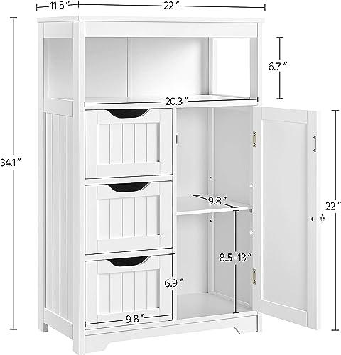 YAHEETECH Bathroom Floor Cabinet Wooden Storage Organizer
