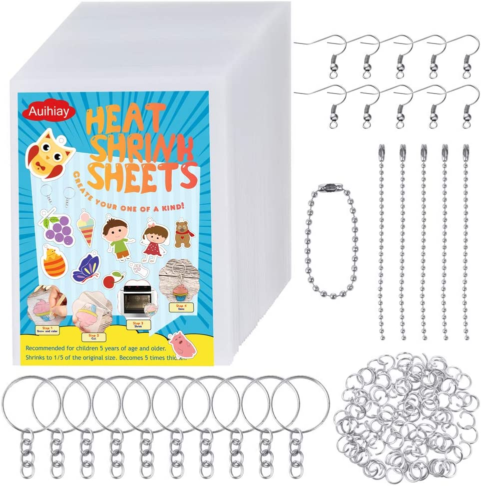 Auihiay 175 Pieces Shrinky Art Paper Kit Include 50 Sheets Heat Shrink Plastic and 125 PCS Keychains Accessories for DIY Ornaments or Creative Craft
