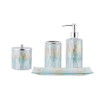 Whole Housewares Bathroom Accessories Set, 4-Piece Glass Mosaic Bath  Accessory Completes with Lotion Dispenser/Soap Pump, Cotton Jar, Vanity  Tray,