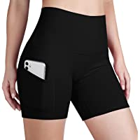 ODODOS High Waist Out Pocket Yoga Short Tummy Control Workout Running Athletic Non See-Through Yoga Shorts