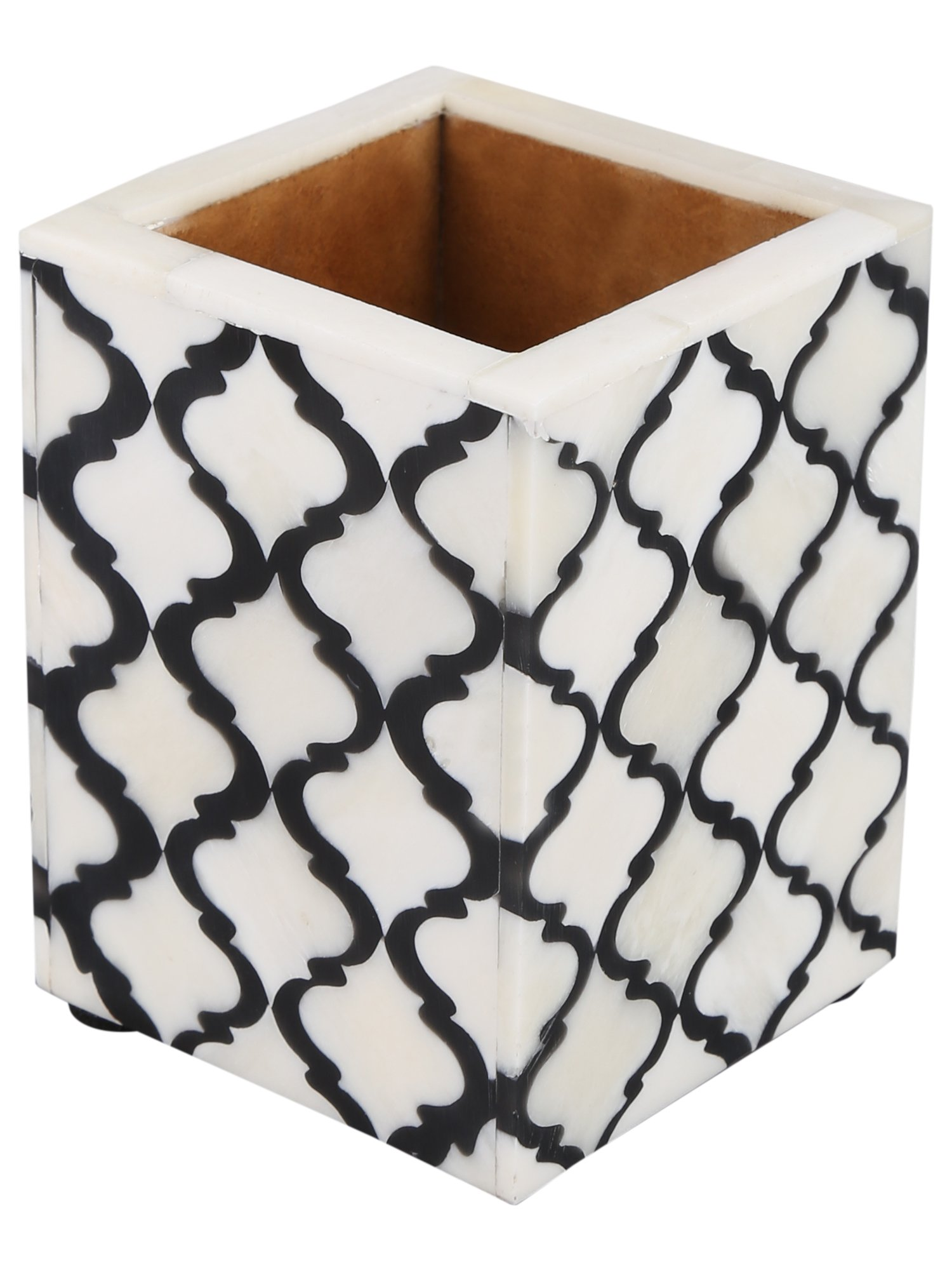 Moroccan & Moorish Art Inspired Desktop Pen & Pencil Holder Cups Office Supplies Organizer Caddy from Handicrafts Home (4x3x4 inches, Black)