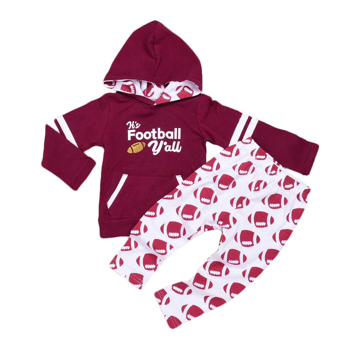 ASISOL Baby Girl 2Pcs Clothing Set Letter Football Print Cotton Hoodies with Pocket + Pants (18-24m(110), Crimson)