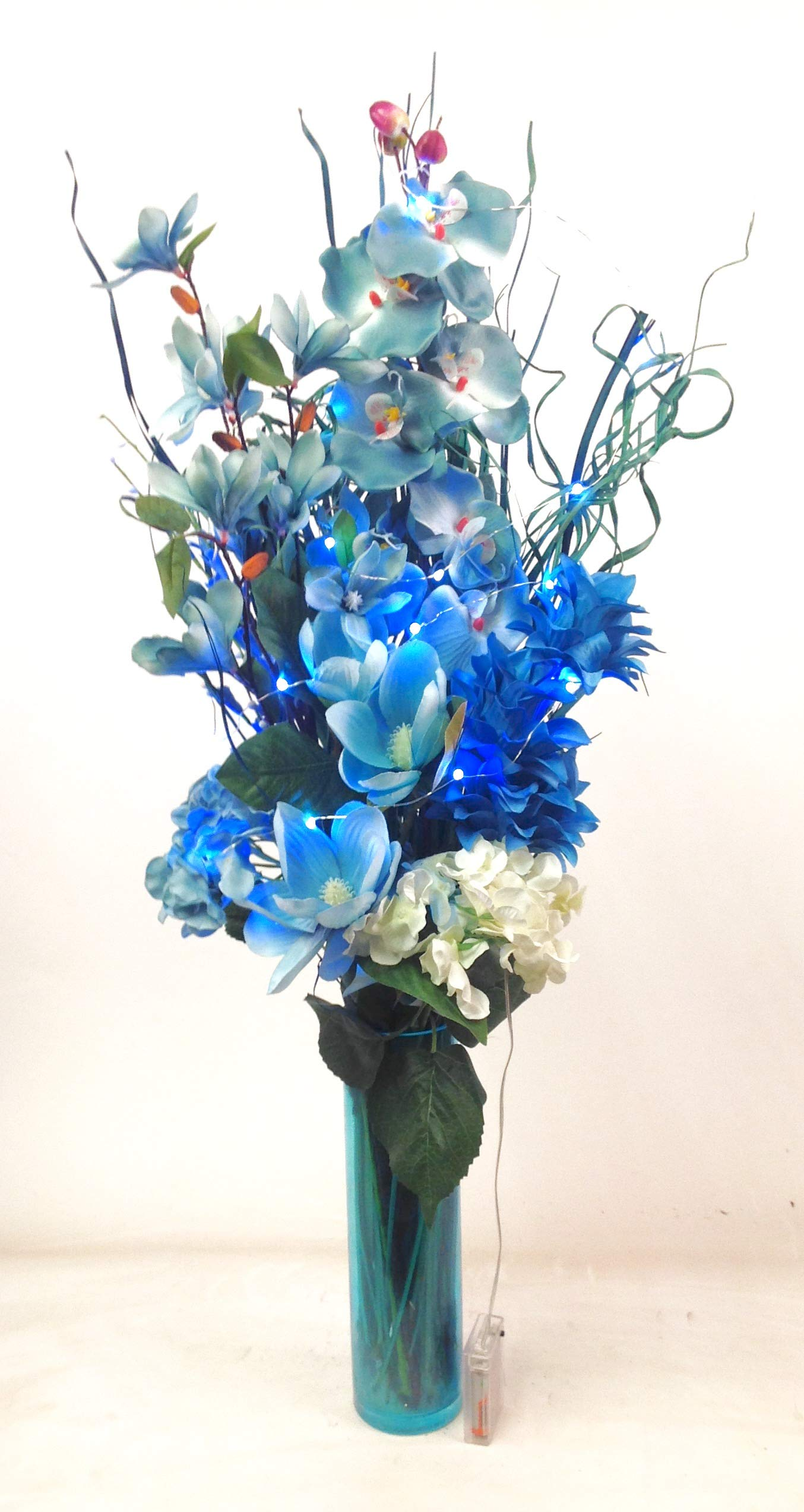 95 cm Dried and Artificial Floral Display in 7 colours includes FREE glass vase