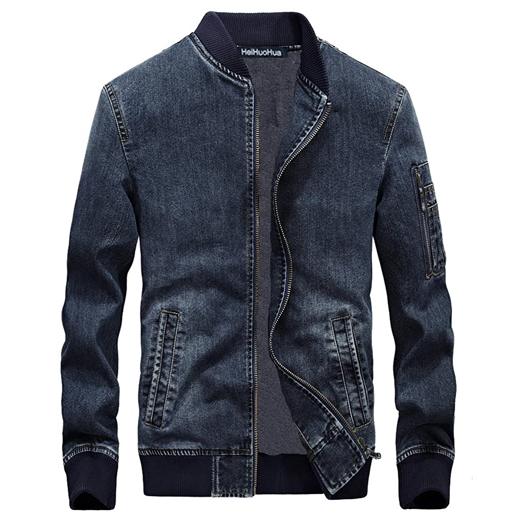 Heihuohua Men's Zip-Front Denim Bomber Jacket Classic Trucker Jean Jacket