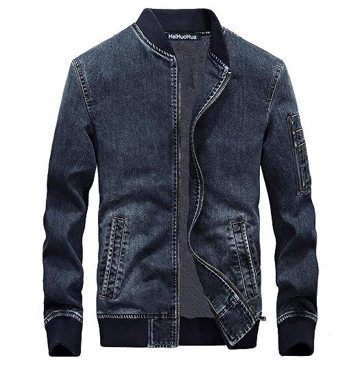 Heihuohua Men S Zip Front Denim Bomber Jacket Classic Trucker Jean