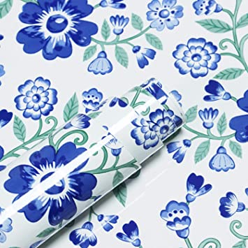 """17.7/""""x 118/"""" Floral Contact Paper Blue and White Vintage Floral Wallpaper Green"""