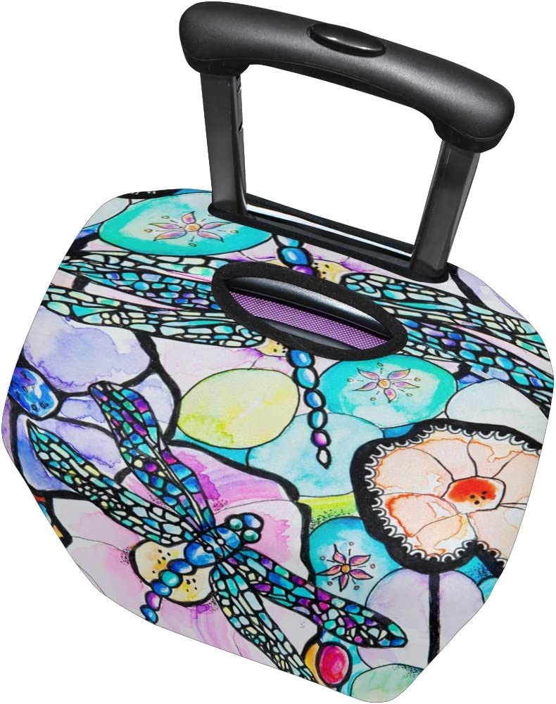 Fits 18-32 Inch LORVIES Dragonflies Print Travel Luggage Protective Covers Washable Spandex Baggage Suitcase Cover