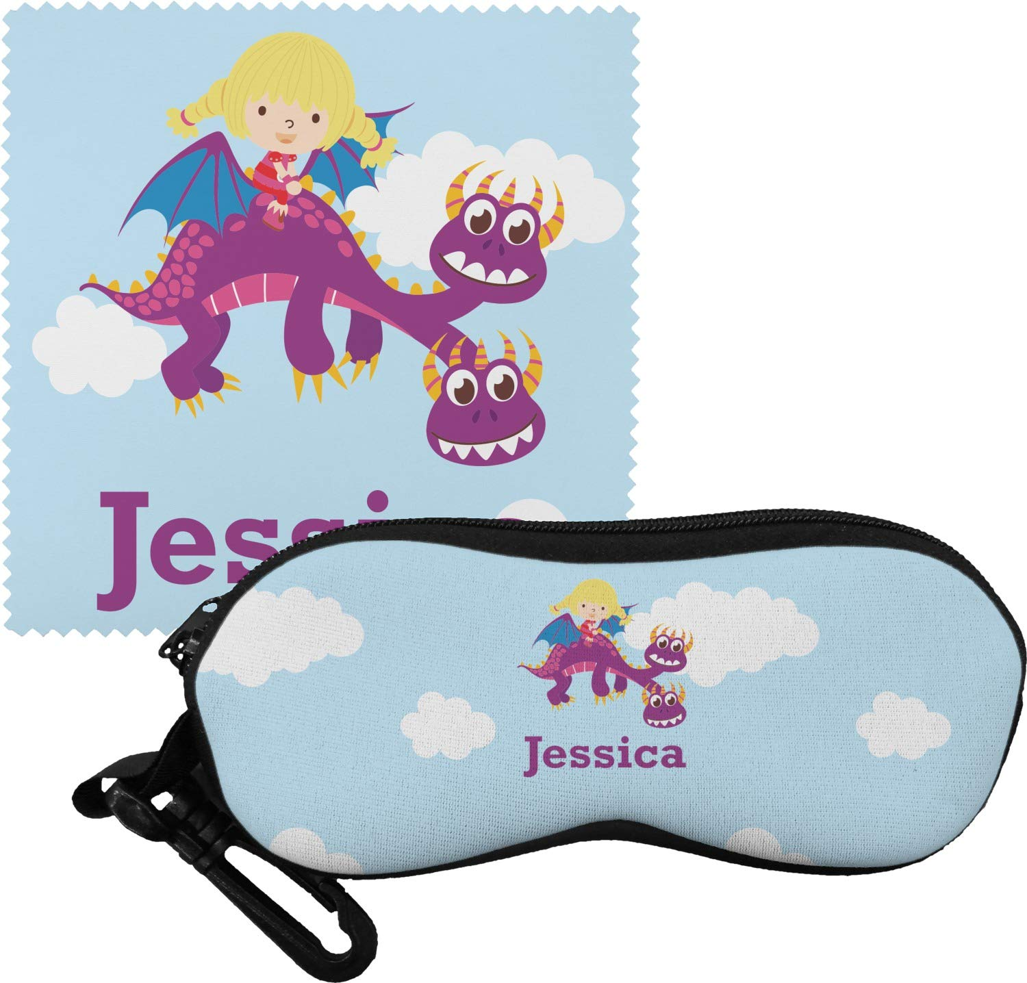 Girl Flying on a Dragon Eyeglass Case & Cloth (Personalized) by YouCustomizeIt