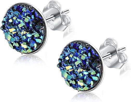 sparkle earrings round classy jewelry druzy earrings druzy studs silver earrings Silver druzy inspired earrings elegant