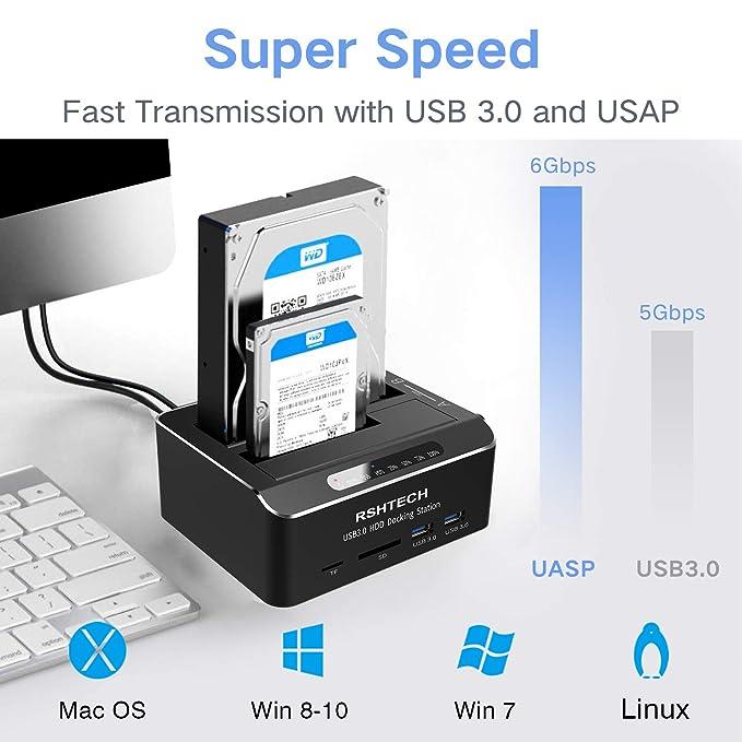 RSHTECH USB 3.0 a SATA Dual Bay disco duro externo con lector de ...