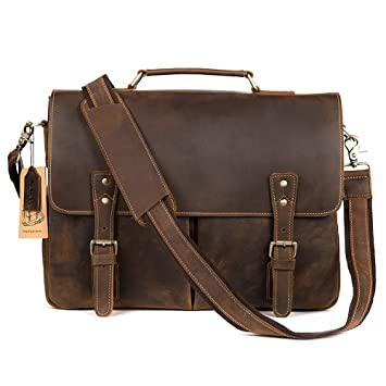 Kattee Mens Leather Briefcase,15 Inch Laptop Messenger Satchel ...
