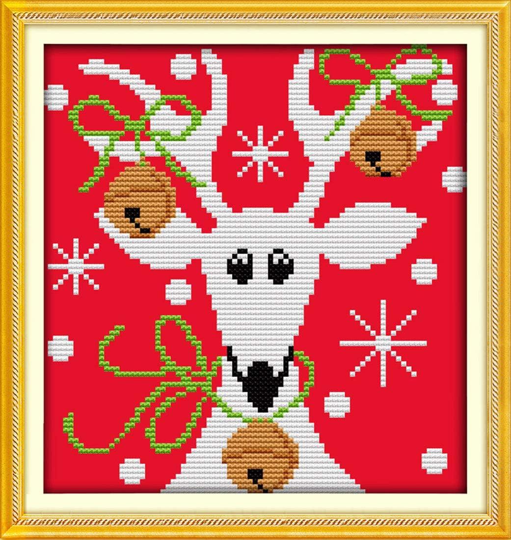 Christmas Reindeer 11 CT 15X 13 Junior DIY Handmade Needlework Set Cross-Stitching Accurate Stamped Patterns Embroidery Frameless Good Value Cross Stitch Kits Beginners Kids