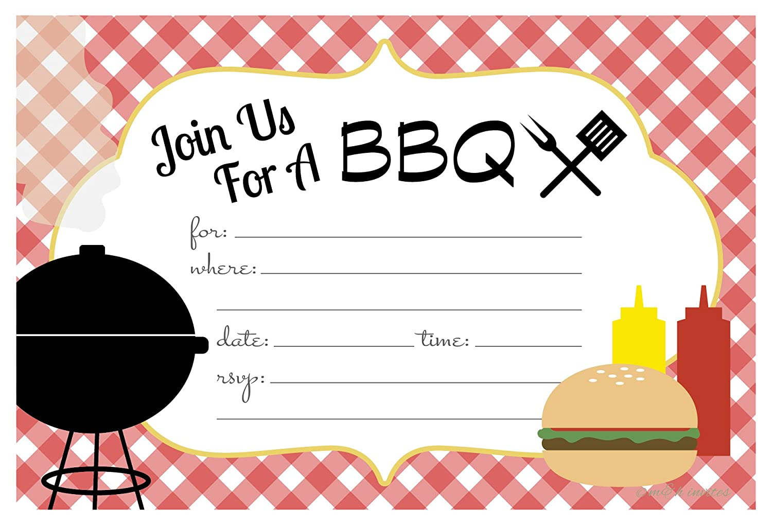 Amazon.com: Summer BBQ Cookout Invitations - Fill In Style (20 Count ...