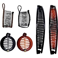 F Fityle Banana Hair Clips Clincher Combs Large Vintage Hair Grip Barrettes Stretchable Double Combs Clip Claws for…