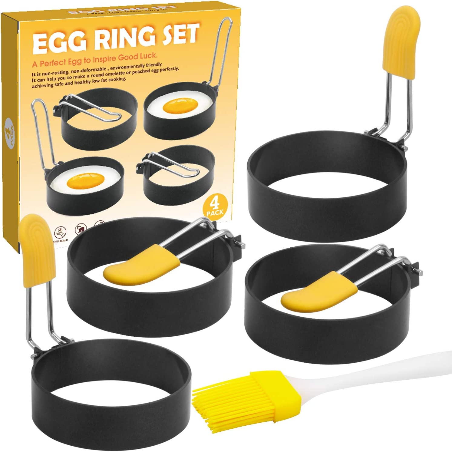 Egg Rings for Egg Mcmuffins, 4 Pack Egg Shapers for Frying, Fried Egg Maker Mold for Cooking, Non Stick Metal Round Egg Cooker Ring for Breakfast,Kitchen Cooking Tools Egg Rings for Griddle…
