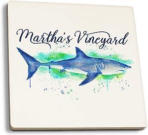 Martha's Vineyard - Great White Shark - Watercolor (Set of 4 Ceramic Coasters - Cork-Backed, Absorbent)