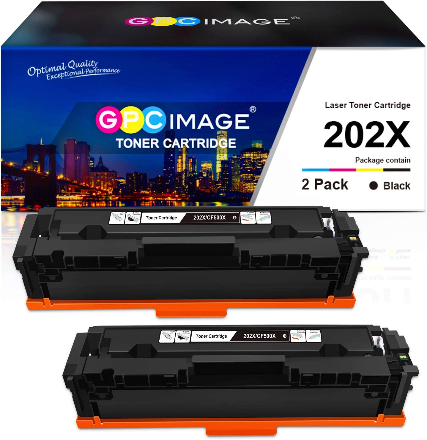 GPC Image Compatible Toner Cartridge Replacement for HP 202X 202A CF500X CF500A to use with Laserjet Pro MFP M281fdw M254dw M281cdw M281 M281dw M280nw Toner Printer(2 Black)