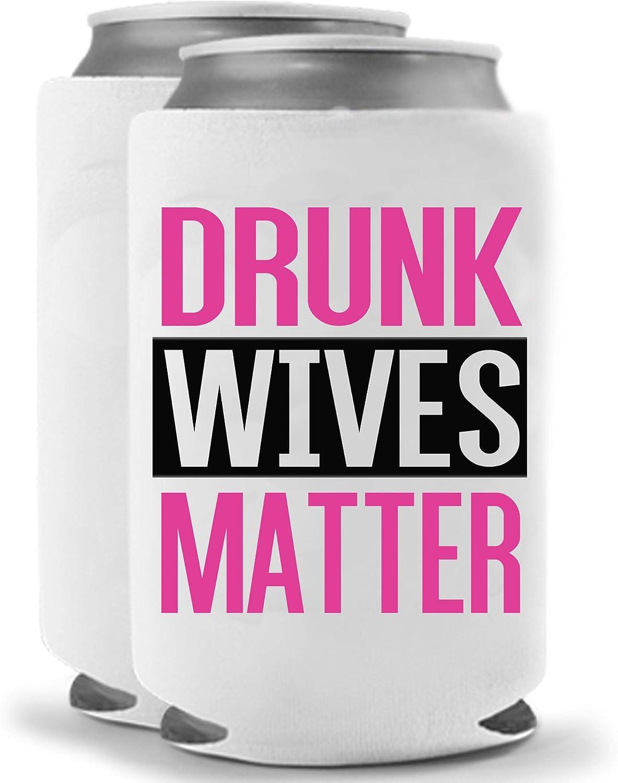 Drunk Wives Matter Pink | Set of Two (2) Funny Novelty Can Cooler Beverage Huggie - | Beer Beverage Holder - Funny Gifts Wife - Quality Neoprene No Fade 12 oz or 16oz Can Cooler (Magenta (2))