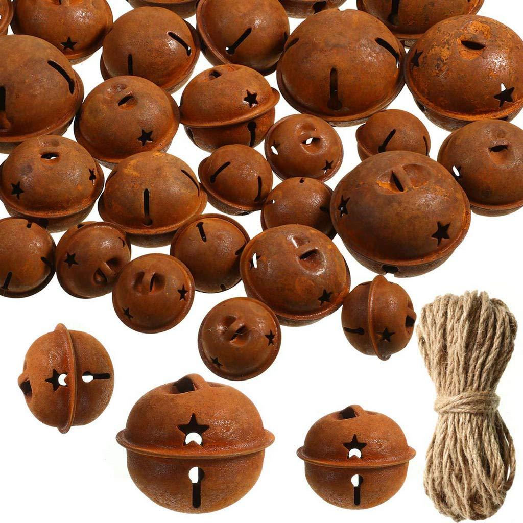 AILINDA Cascabeles de Metal Oxidado con Forma de Estrella y Cordel de Yute de 65 pies para Manualidades 24PCS decoraci/ón de /árbol de Navidad
