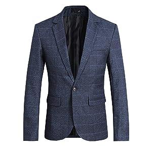 CEEN メンズ スーツジャケット 1つボタン 上着 テーラードジャケット チェック スリム 無地 スタイリッシュ ビジネス/結婚式/パーティー/イベント/演奏会 ジェントルマン ジャケット カジュアル (2XL(日本のXLサイズ相当), ブルー)