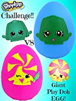 Shopkins Challenge #8 Giant Play Doh Surprise Eggs Toy Review