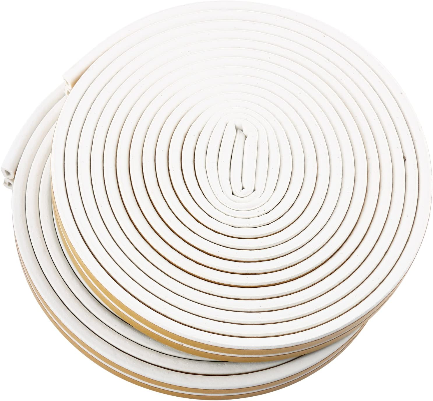 20M Long Weather Stripping Doors and Windows Soundproofing Anti-Collision Self-Adhesive Weatherstrip Rubber Door Seal Strip Homend Soundproof Weather Stripping Door Kit, 66FT Pack of 2, White