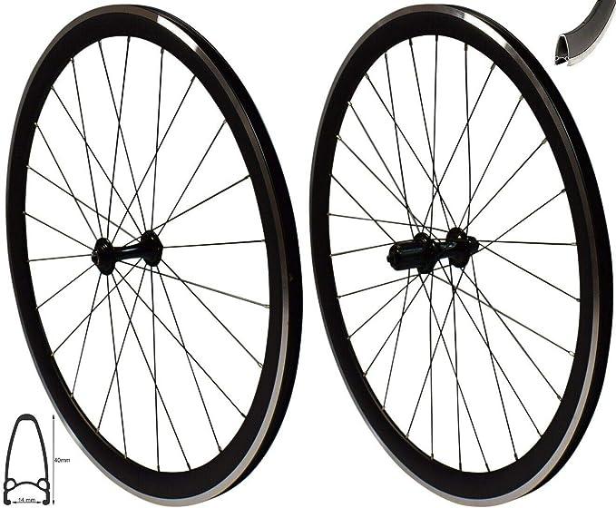 Redondo - Juego de Llantas de 28 Pulgadas para Bicicleta de Carreras, Perfil en V, 8-10 velocidades, Color Negro: Amazon.es: Deportes y aire libre
