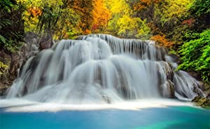 Leowefowa 5X3FT Autumn Backdrop Waterfall Backdrops for Photography Forest Trees Pond Nature Scene Vinyl Photo Background Men Baby Travel Studio Props