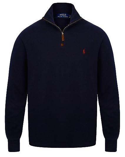 66228dad9dc8 Ralph Lauren Half Zip Sueded Rib Cotton Jumper  Amazon.co.uk  Clothing