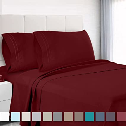 Amazoncom Premium Split King Sheets Set Red Burgundy Hotel