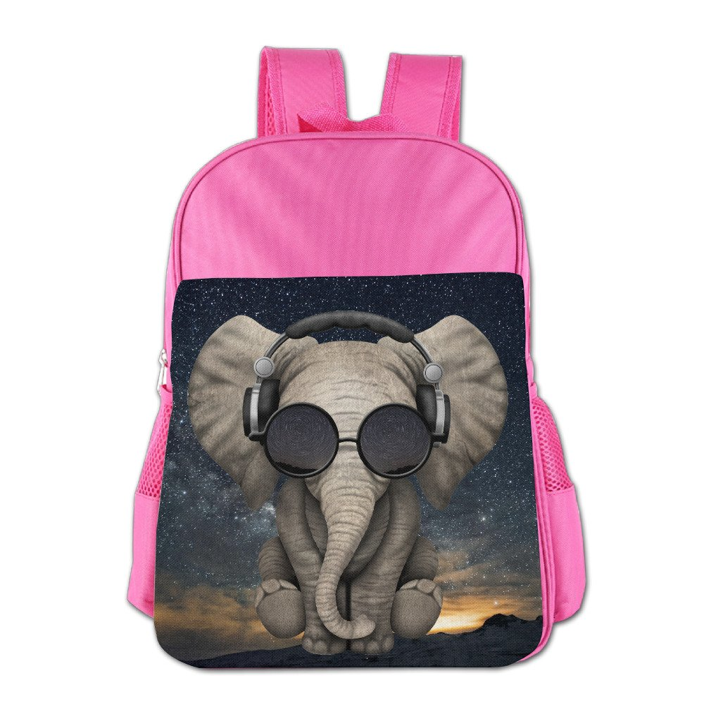 Elephant Glasses Galaxy School Backpack Children Shoulder Daypack Kid Lunch Tote Bags Pink