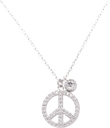 Children Sterling Silver Peace Sign Charm Necklace 14 Inches Chain