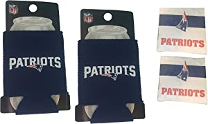 FAKKOS Design New England Patriots Cooler Beer Can Set of 2 with Bonus Patriots Cocktail Napkins 50 Count Pack