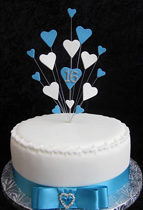 16th Birthday Turquoise White Heart Cake Topper Suitable For A