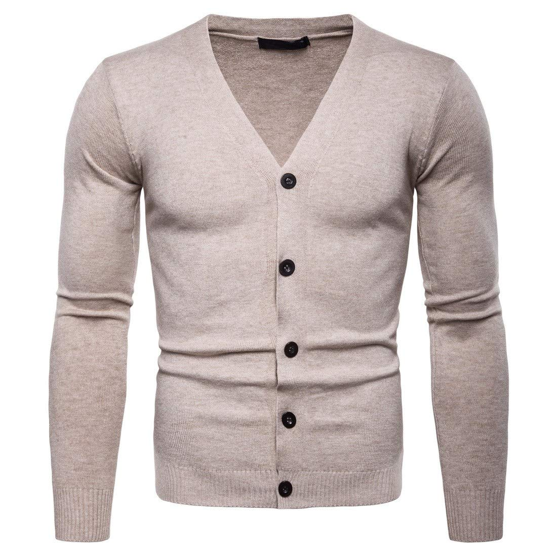 AngelSpace Mens Cardi Solid-Colored Classic Wild Tshirt Sweater