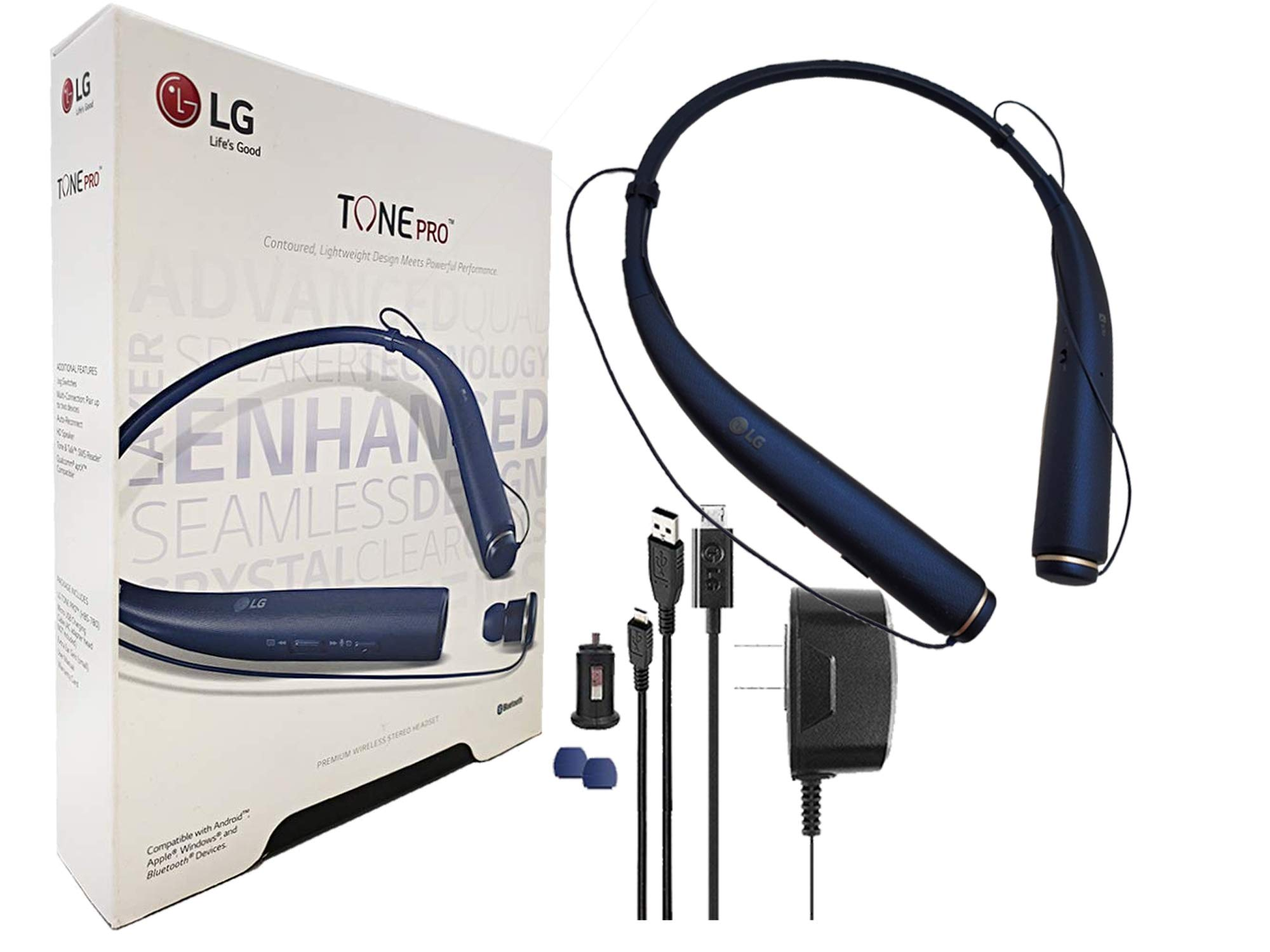 LG Tone 780 - Bluetooth Wireless Stereo Headset with Car Charger, Ear Gels with Car/Wall Charger (US Retail Packing) by LG (Image #1)