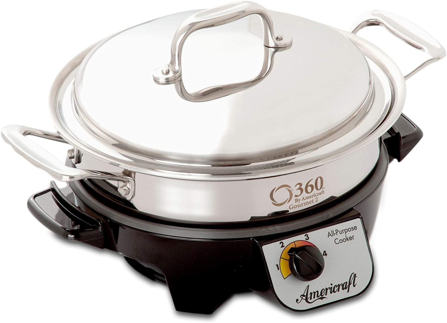 360 Stainless Steel Slow Cooker, 2.3 Quart Saute Pan is Induction Cookware, Waterless Cookware, Dishwasher Safe, Oven Safe, Surgical Grade Stainless Steel Cookware. Electric Slow Cooker Base Included.