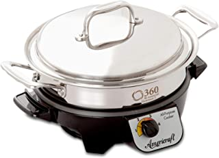 product image for 360 Stainless Steel Slow Cooker, 2.3 Quart Saute Pan is Induction Cookware, Waterless Cookware, Dishwasher Safe, Oven Safe, Surgical Grade Stainless Steel Cookware. Electric Slow Cooker Base Included.