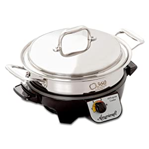 360 Stainless Steel Cookware 2.3 Quart Slow Cooker, American Made. Saucepan is Induction Cookware, Waterless Cookware, Dishwasher Safe, Oven Safe, Professional Grade. Slow Cooker Base Included
