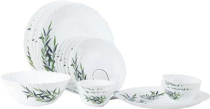 LaOpala Lustrous Leaves Dinner Set, 27-Pieces, Multicolour