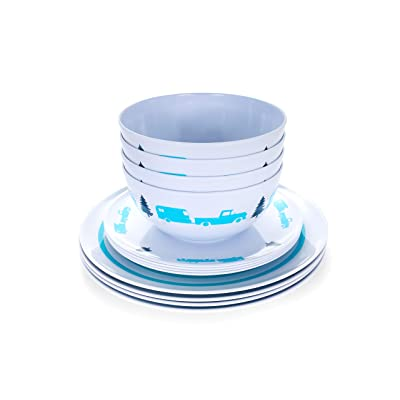 Camco Teal Life is Better at The Campsite 12 Piece Dishware Set-Blue Retro Trailer and Logo Design, Includes Plates and Bowls, Perfect for RVing and Camping, Melamine (53296): Automotive