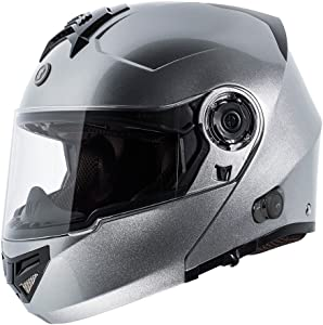 TORC T27 Full Face Modular Helmet with Integrated Blinc Bluetooth (Silver, X-Large)