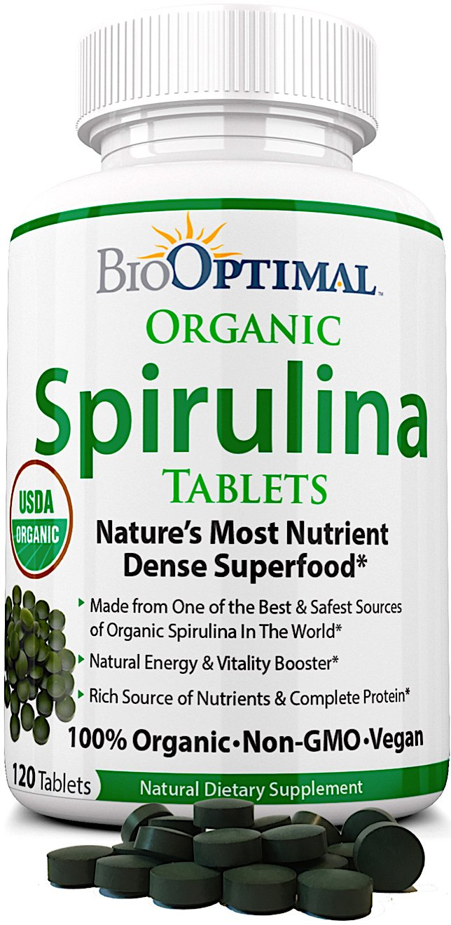 Organic Spirulina Tablets, 100% USDA Organic, Premium Quality 4 Organic Certifications, Non-GMO, No Additives Capsules or Fillers, Easy-to-Swallow, 120 Count 1 Month Supply