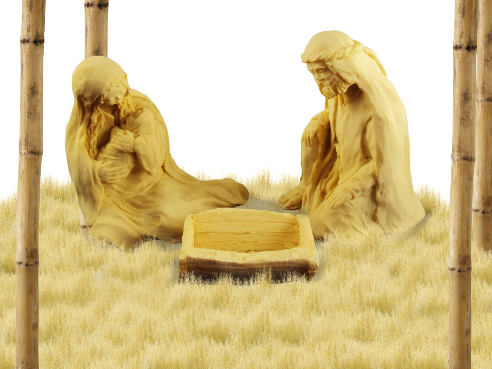 Christmas Gift, Nativity Scene, Stone Sculpture By Jacklyn Kelly, Mary Holding Jesus with Joseph.