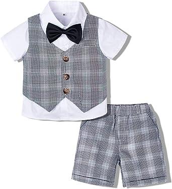 mintgreen Traje Niño Conjunto Caballero Bebé Camisa Manga Corta Boda, Gris, 4-5 años (Tamaño del Fabricante: 120): Amazon.es: Ropa y accesorios