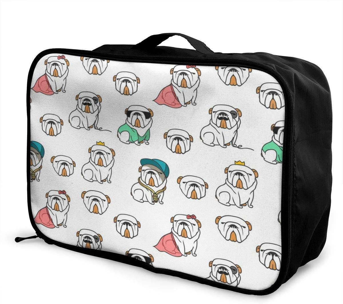Yunshm English Bulldog Pattern Seamless Vector Image Customized Trolley Handbag Waterproof Unisex Large Capacity For Business Travel Storage