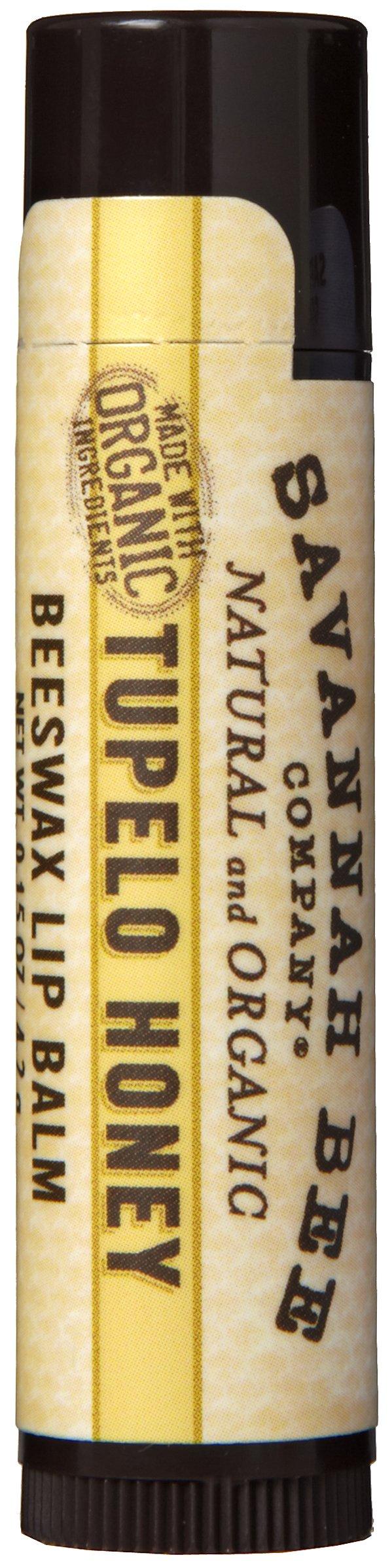 Savannah Bee Company Natural and Organic Tupelo Honey Beeswax Lip Balm, 0.15-Ounce (Pack of 4)